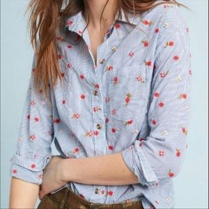 Anthro Maeve Striped Floral Embroidered Shirt